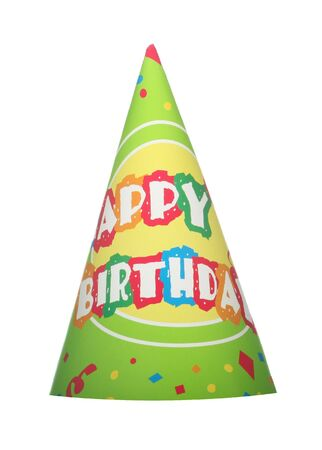Green happy birthday party hat isolated on white background Stok Fotoğraf