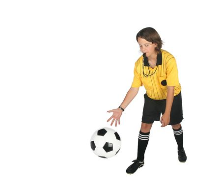 Female referee dropping a soccer ball isolated on white background