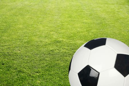 Grass field with black and white soccer ball background
