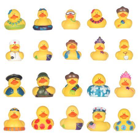 Yellow rubber duckies isolated on white background Stok Fotoğraf - 6401107