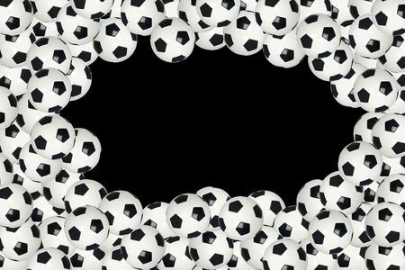 Soccer ball border with black copy space background in the center
