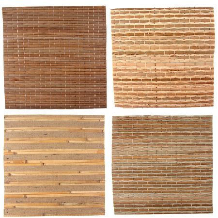 Four natural bamboo background isolated on white