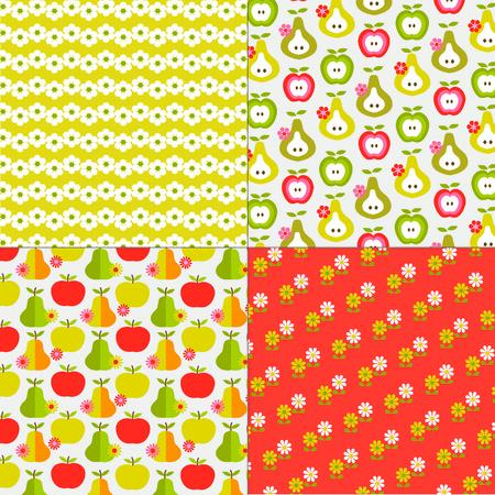 flower patterns: fruit en bloemen patronen Stock Illustratie
