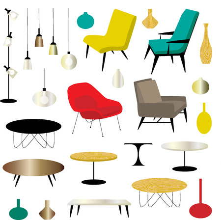 mid century: furniture clipart Illustration