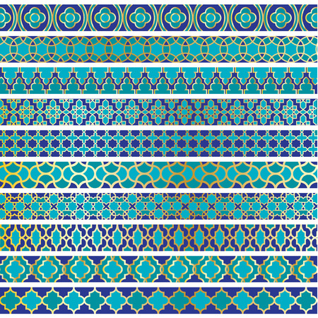islamic pattern: blue moroccan borders