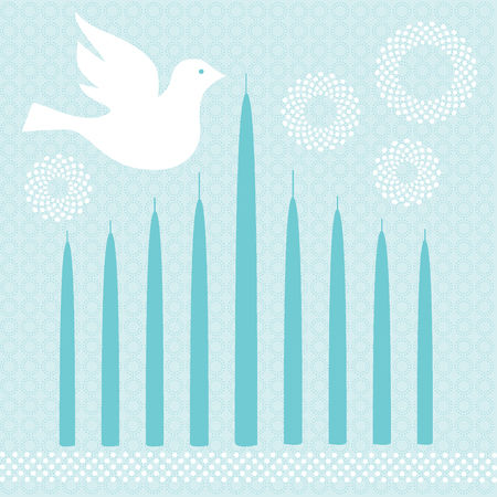chanukah: chanukah candles and dove Illustration