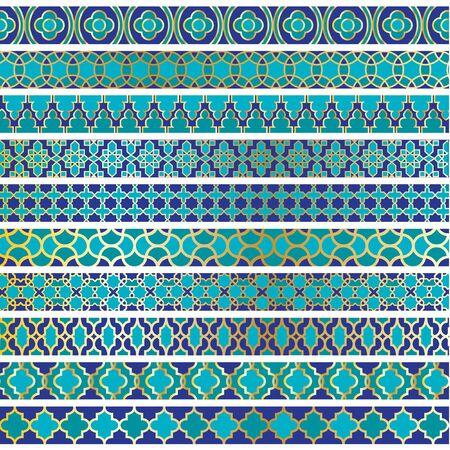 blue moroccan border patterns Vectores