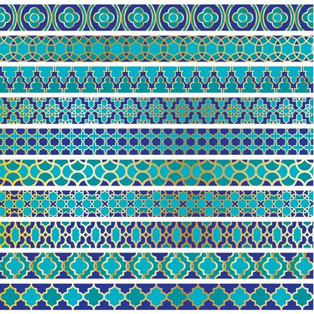 blue moroccan border patterns 矢量图像