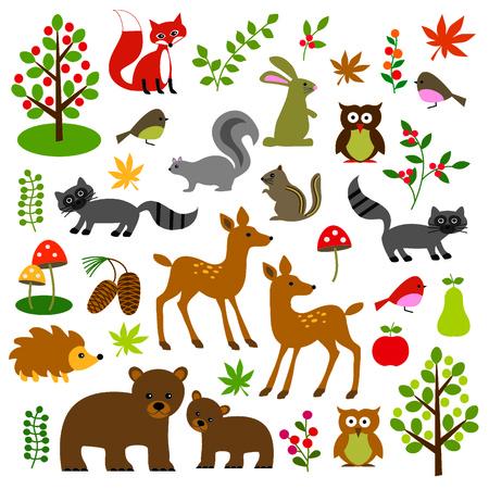 woodland wildlife clipart Stock Illustratie