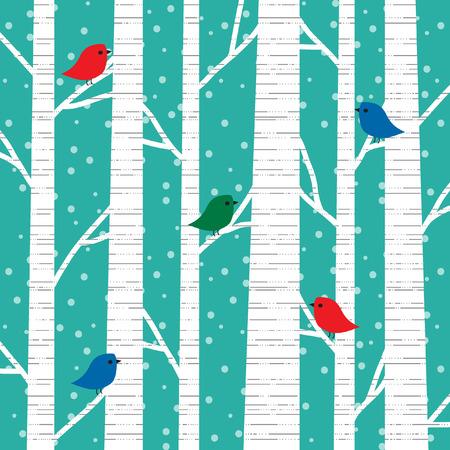 birds and birch trees Vektorové ilustrace