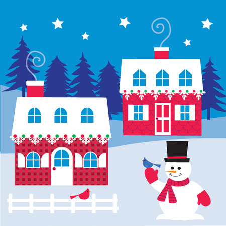 christmas house: houses and snowman Illustration