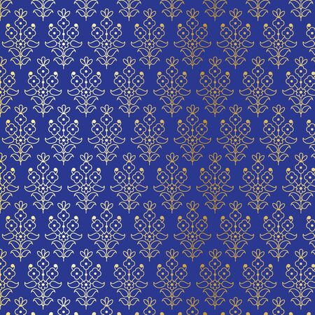 gold and blue Indian paisley pattern Illustration