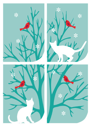 cats at window Stock Illustratie