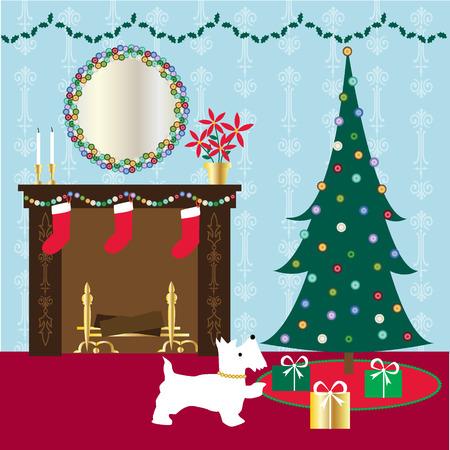 Christmas scene Ilustração