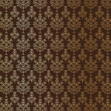 Gold and brown Indian paisley pattern Illusztráció