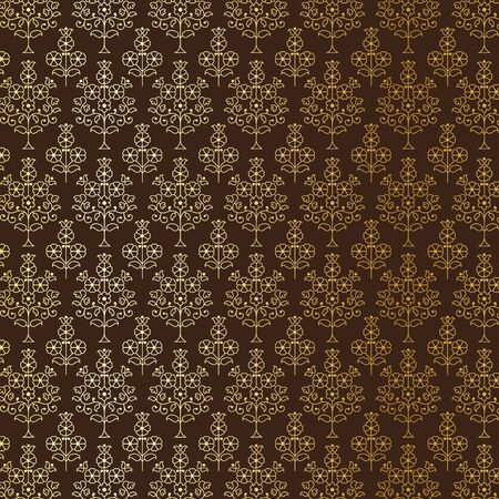 Gold and brown Indian paisley pattern Illustration