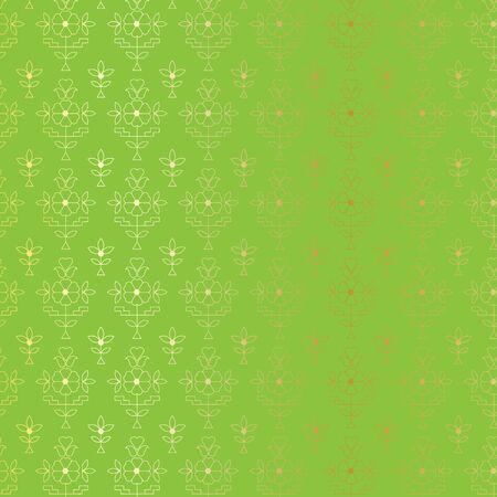 Gold and green Indian paisley pattern Illusztráció