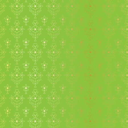 Gold and green Indian paisley pattern Illustration