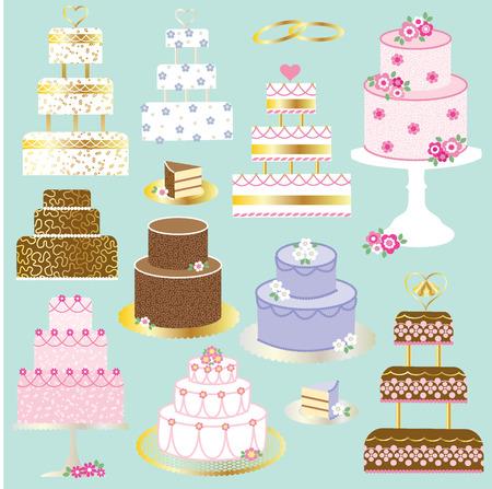 wedding cakes Vector