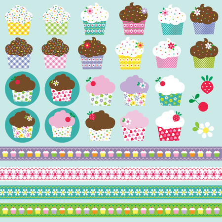 chequered ribbon: cupcake clipart