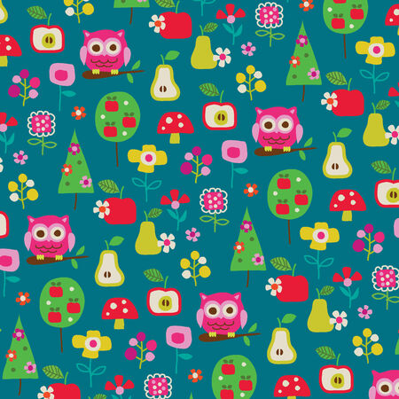 owls, fruit, and trees pattern Vector