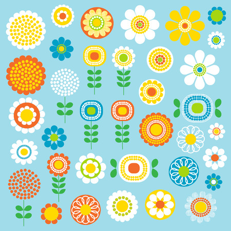 flower illustration: mod flowers