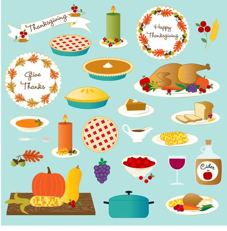 vector thanksgiving food Illustration