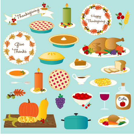 vector thanksgiving food Stock Illustratie