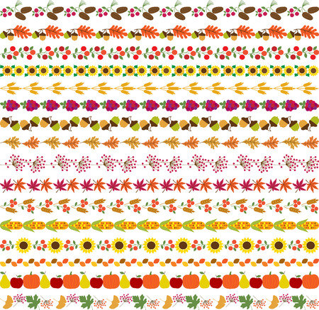 fall harvest: autumn border patterns Illustration
