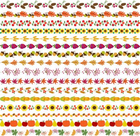 lineas decorativas: patrones de frontera otoño Vectores