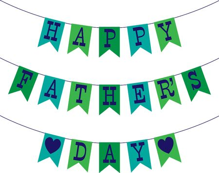 manly: blue green fathers day bunting Illustration