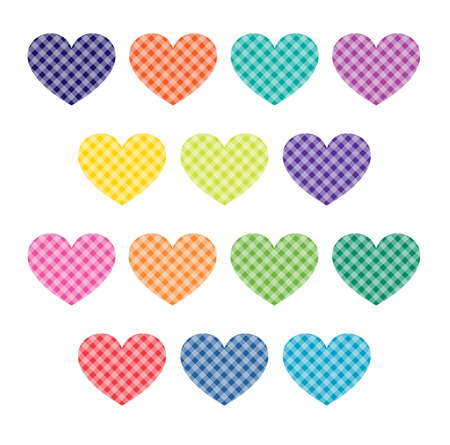 gingham: gingham hearts clipart