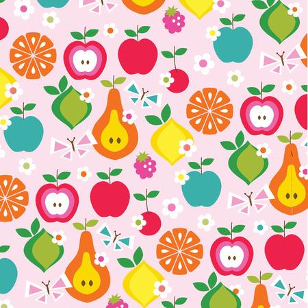 fruit en vlinders Stock Illustratie