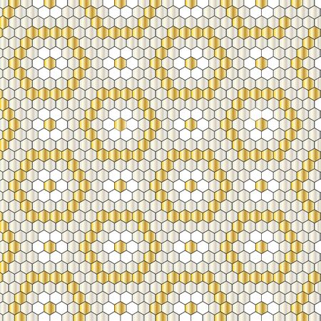 gold silver hexagon geometric pattern Ilustrace