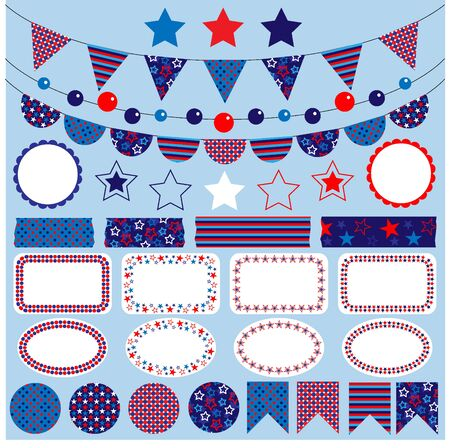 summer holidays: red white blue bunting clipart