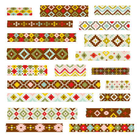 Tribal patterns washi tape clipart Çizim