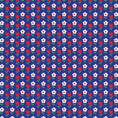 red white blue: red white blue tulip flower pattern Illustration