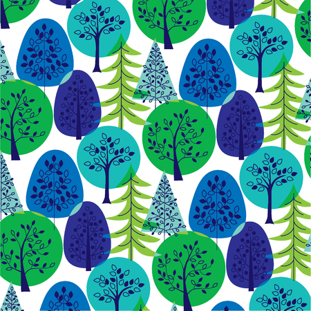 overlapping: blue green overlapping trees Illustration