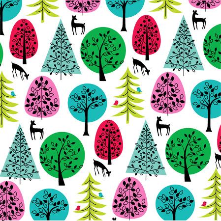 green jay: árboles brillantes con ciervos y aves