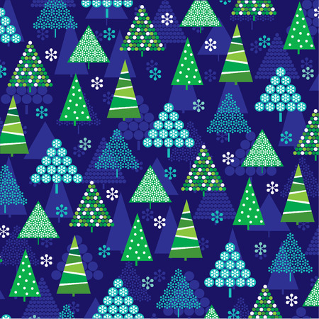 blue and green: blue green christmas trees pattern