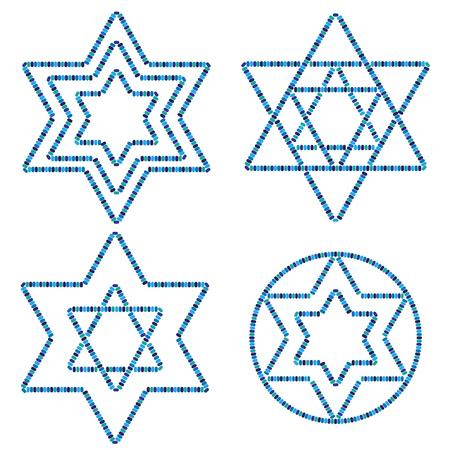 jewish: Beaded Jewish Stars Illustration