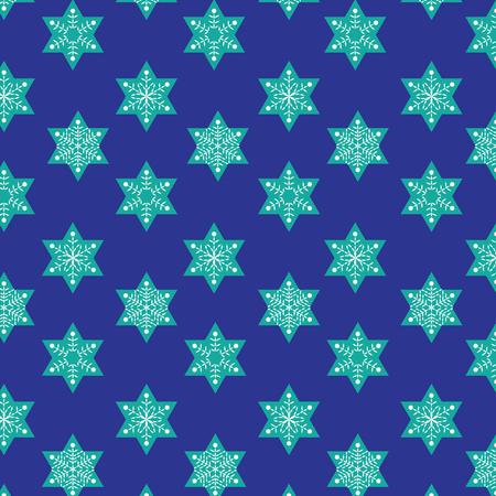 jewish: stitched snowflakes on Jewish stars