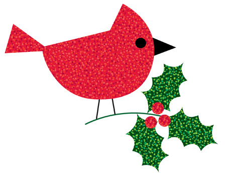 glitter cardinal with holly