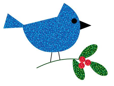 bluejay: glitter bluejay on mistletoe Illustration