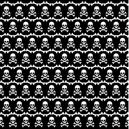 Cráneo y huesos cruzados patrón de Halloween Foto de archivo - 64161042