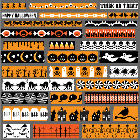 ghost house: Halloween Washi Tape clipart Illustration