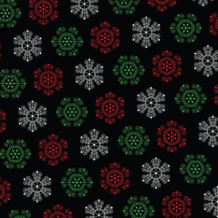 ornate snowflakes on black