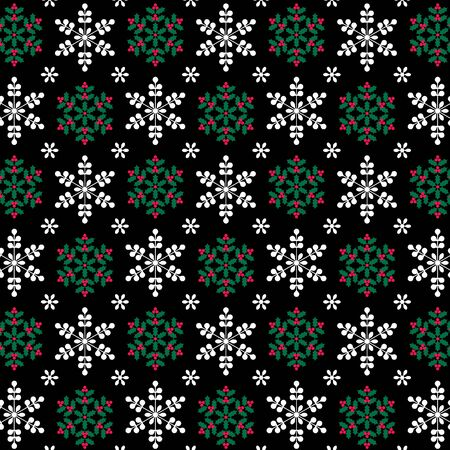 holly and snowflake pattern