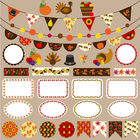 thanksgiving bunting clipart Çizim