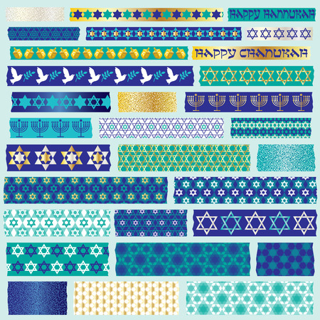 Chanukah washi tape clipart Illustration
